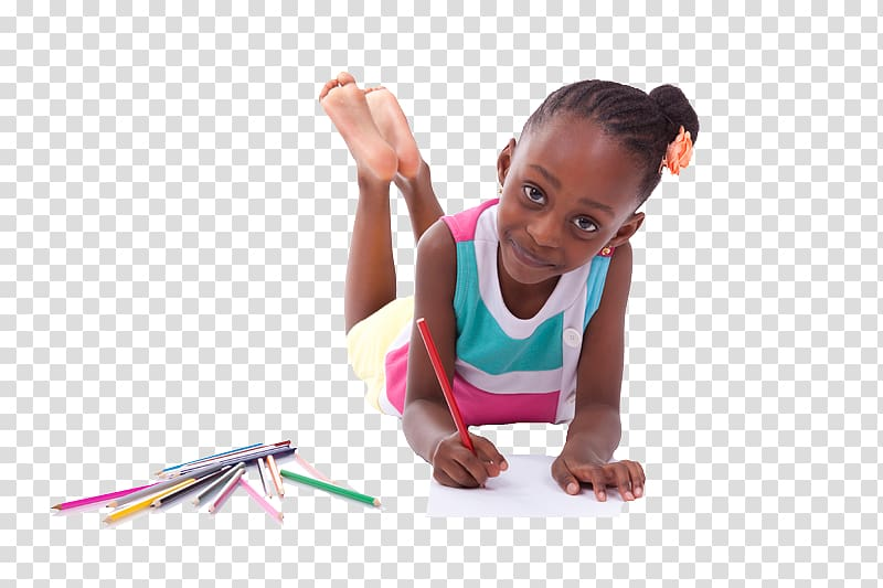 Girl holding red color pencil while lying, African American.
