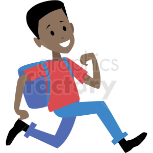 african american kid running late for school vector clipart . Royalty.
