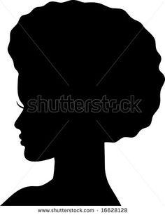 Black Silhouette Woman Head.