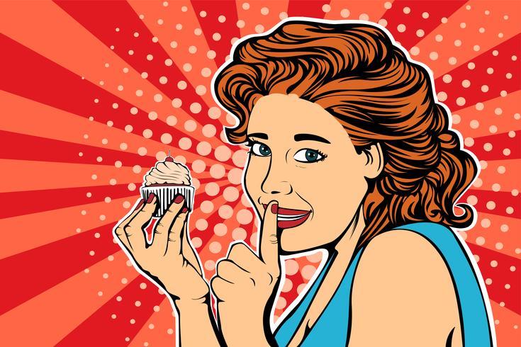 Pop art girl diet cake retro vector.