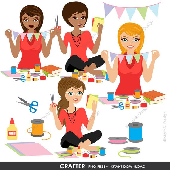 Woman Crafter Clip Art, Crafts Woman Clipart, Hobby.