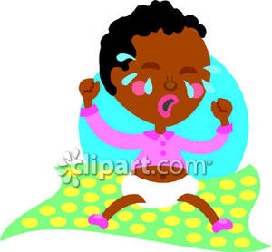 African American Baby Crying Royalty Free Clipart Picture.
