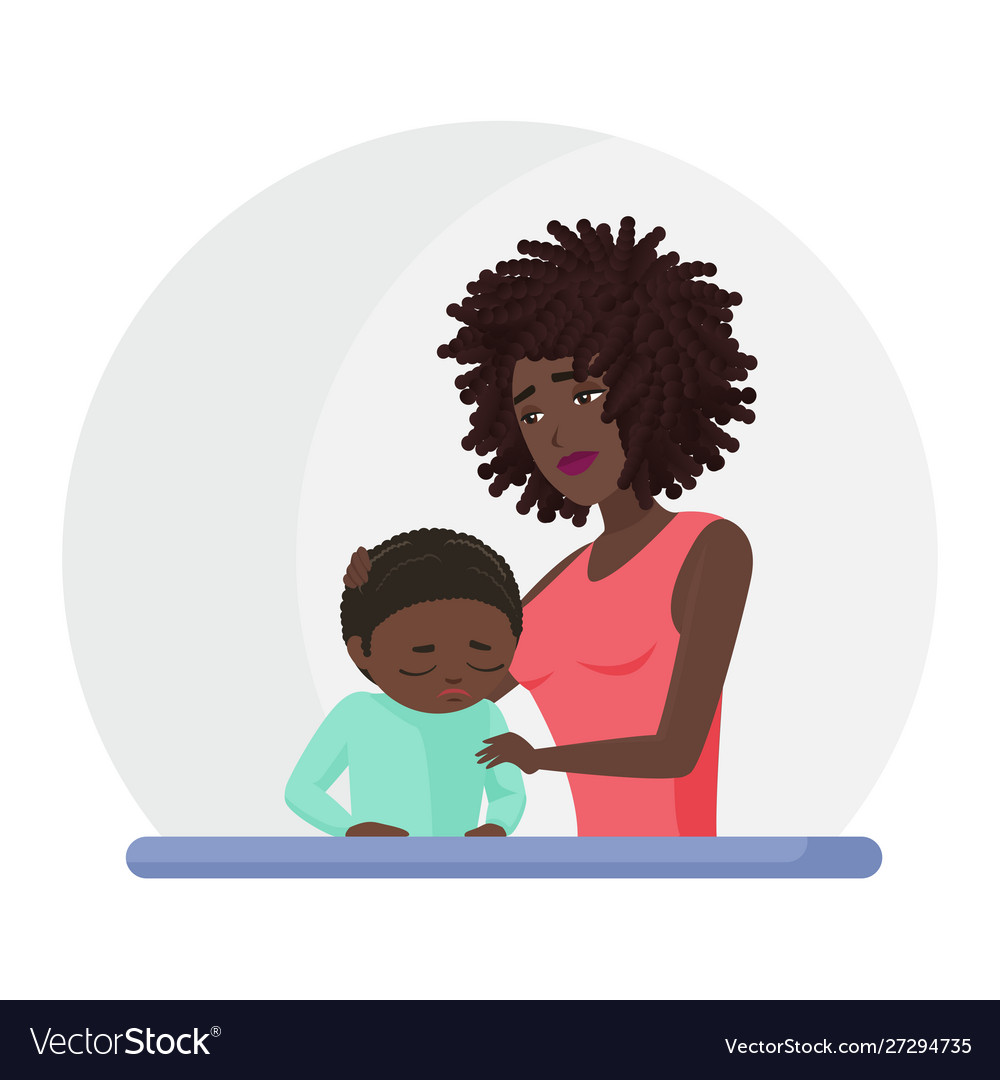 African american black mother supporting crying.