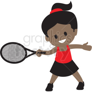 cartoon African American girl playing tennis clipart. Royalty.