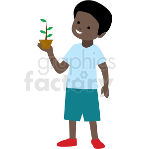 african american boy holding plant vector clipart . Royalty.