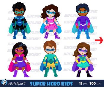 Superhero Kids Clipart / African american, Caucasian, Multicultural.