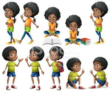 African American Kids premium clipart.