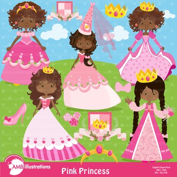 Princess Clipart, African American Princesses in Pink clipart AMB.