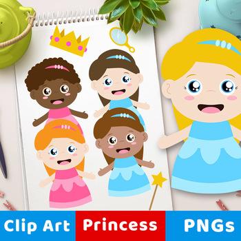 Princess Clipart, African American Princess Clip Art, Black Princess Clipart.