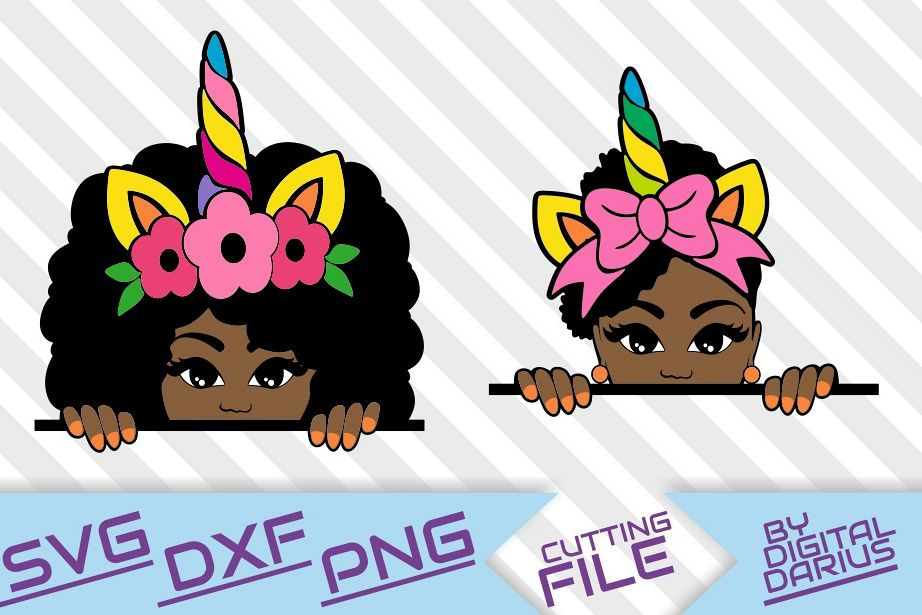2x Peeking afro girl svg, Melanin, Black woman svg, Unicorn.