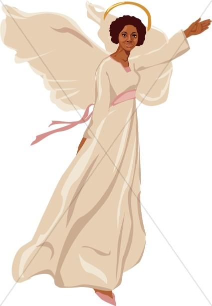 Female Angel Flying Clipart.