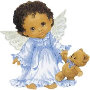 Black Baby Angel with Teddy Bear.