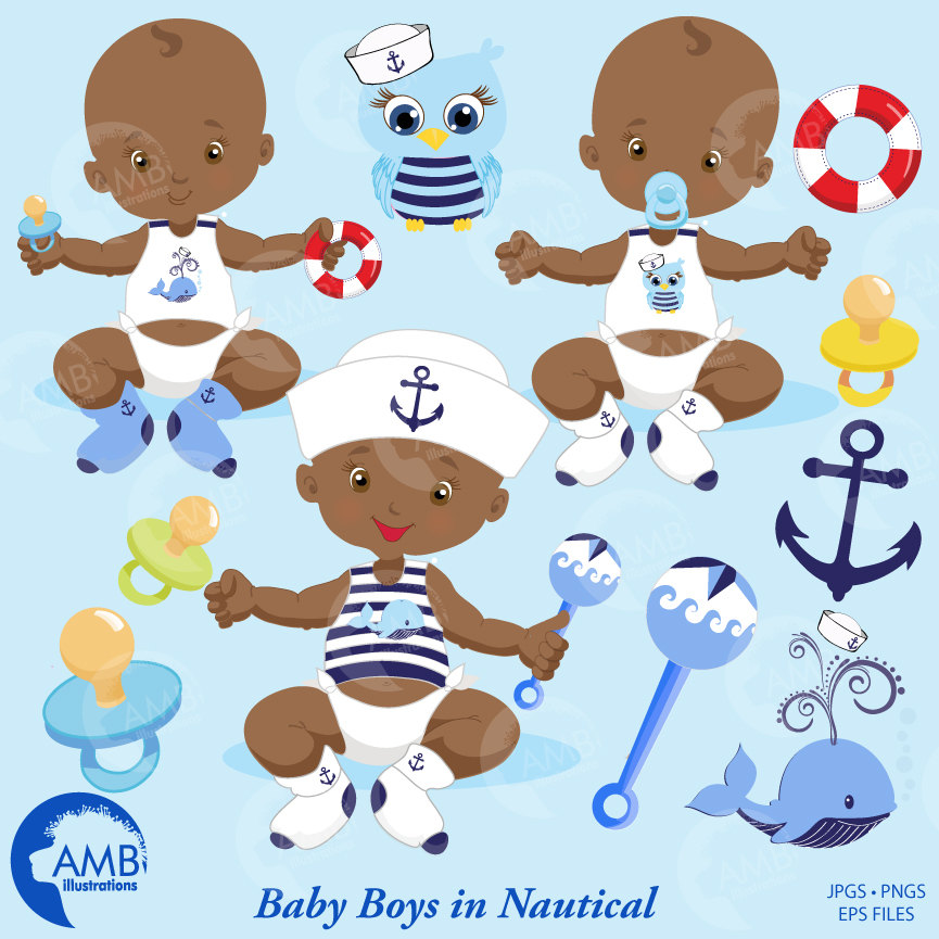 Baby Boy Clipart, Nautical Baby Boy Clipart, Sailor Clipart, AMB.