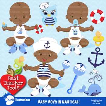 Baby Boy Clipart, African American Clipart, Baby Boy Clip Art, AMB.
