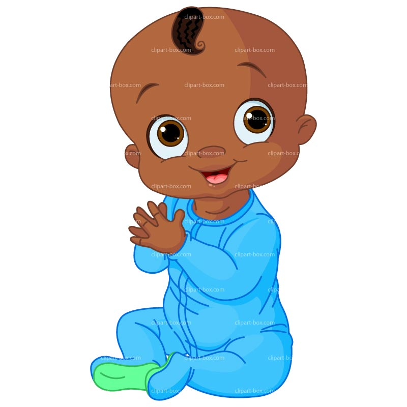 African American Baby Boy Clipart.