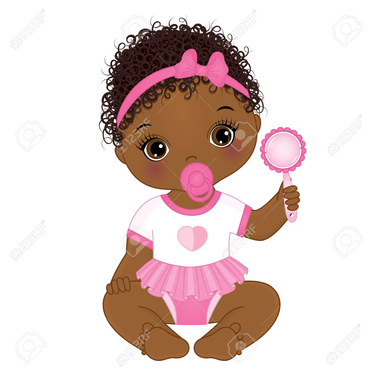 Vector cute African American baby girl with rattle sitting. Vector...