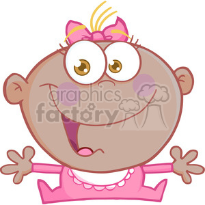 Clipart of Happy African American Baby Girl With Open Arms clipart.  Royalty.
