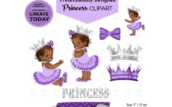 African American Babygirl Clipart Purple.