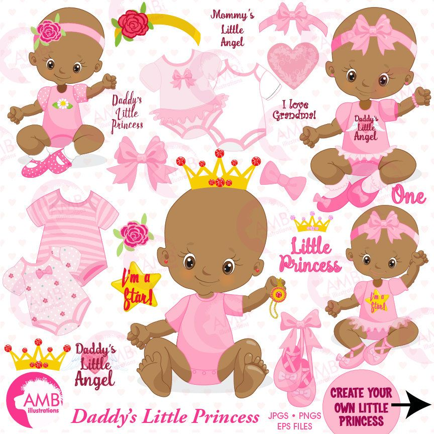 Baby Girl clipart, African American, Little Princess Clipart.
