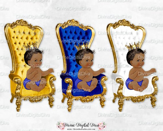 Prince Throne Chair Royal Blue White Gold Crown.