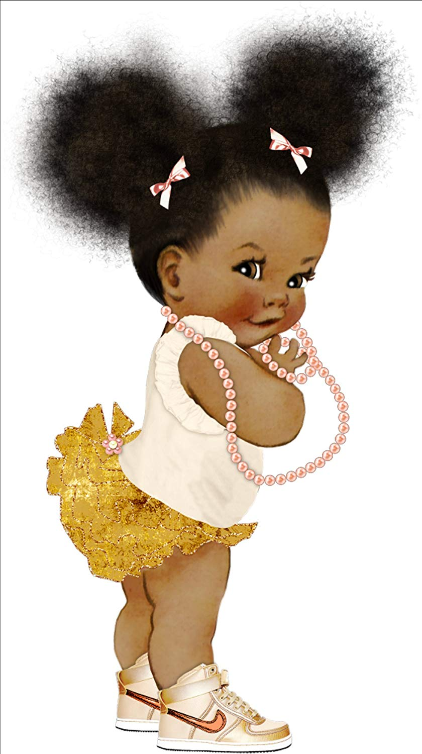 Princess edible baby shower cake topper, afro puffs baby, african american  baby shower cake, princess baby shower (6 Inch Tall).