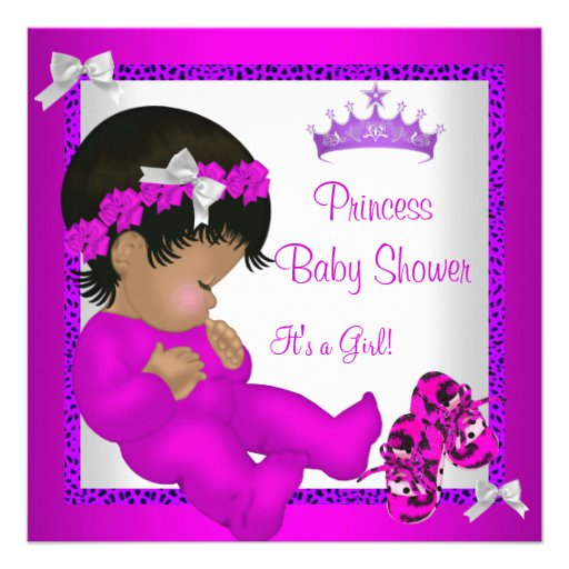 African American Baby Shower Purple Pink Leopard Custom.