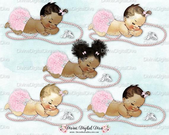 Sleeping Baby Girl Blush Pink Ruffle Pants Bows Pearls.