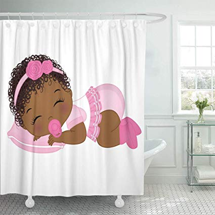 Amazon.com: Emvency Fabric Shower Curtain with Hooks Pink.