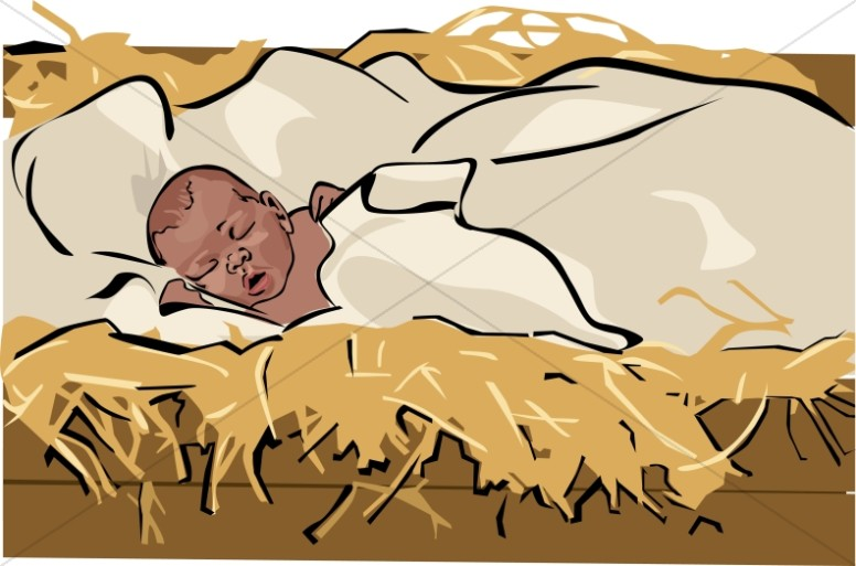 African American Baby Jesus in a Manger.