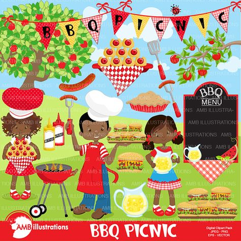 BBQ african american bbq clipart pack.