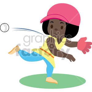 cartoon african american girl throwing ball clipart. Royalty.