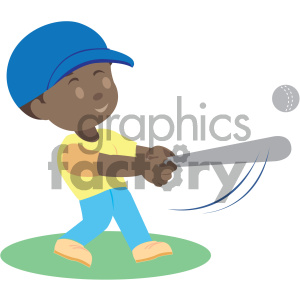 african american boy hitting a baseball vector illustration clipart.  Royalty.