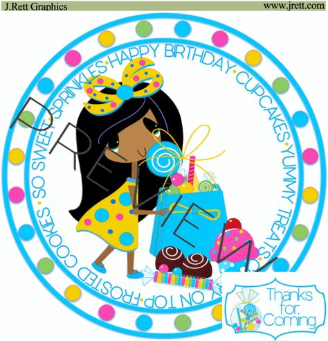 Cute African American girl clip art, Happy Birthday Clipart.
