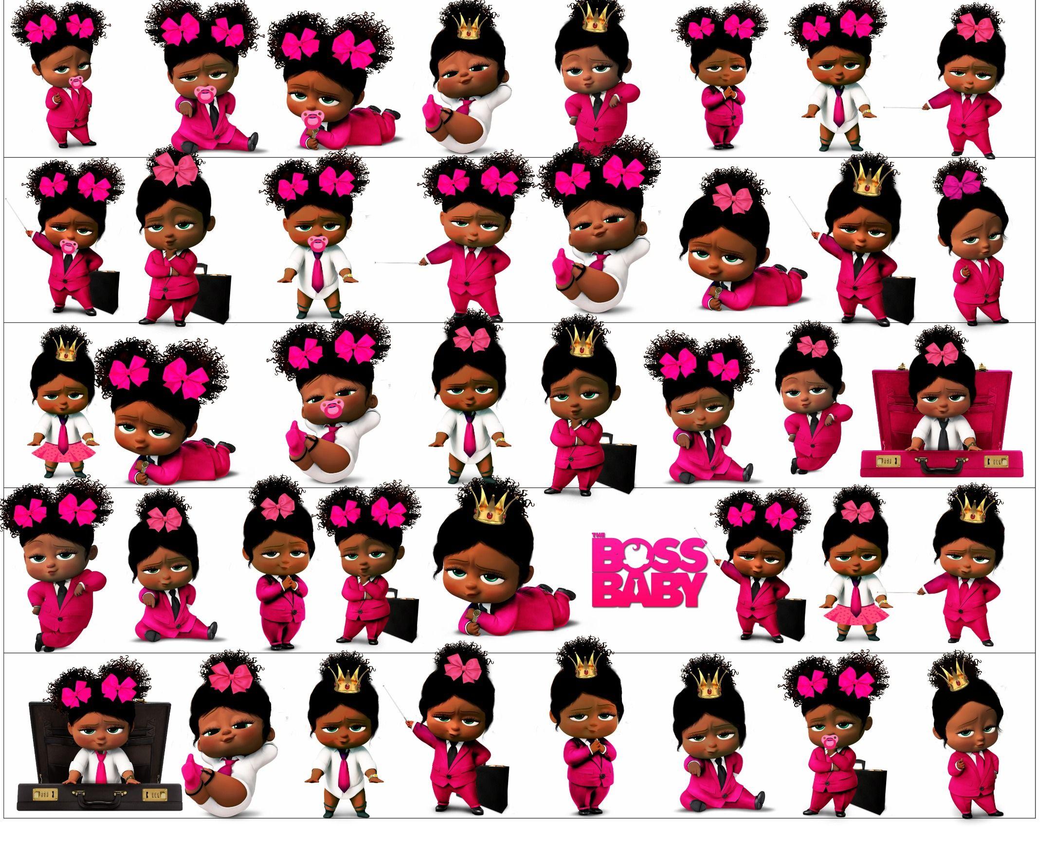 African American Girl Boss Baby Clipart, Boss Baby Girl.