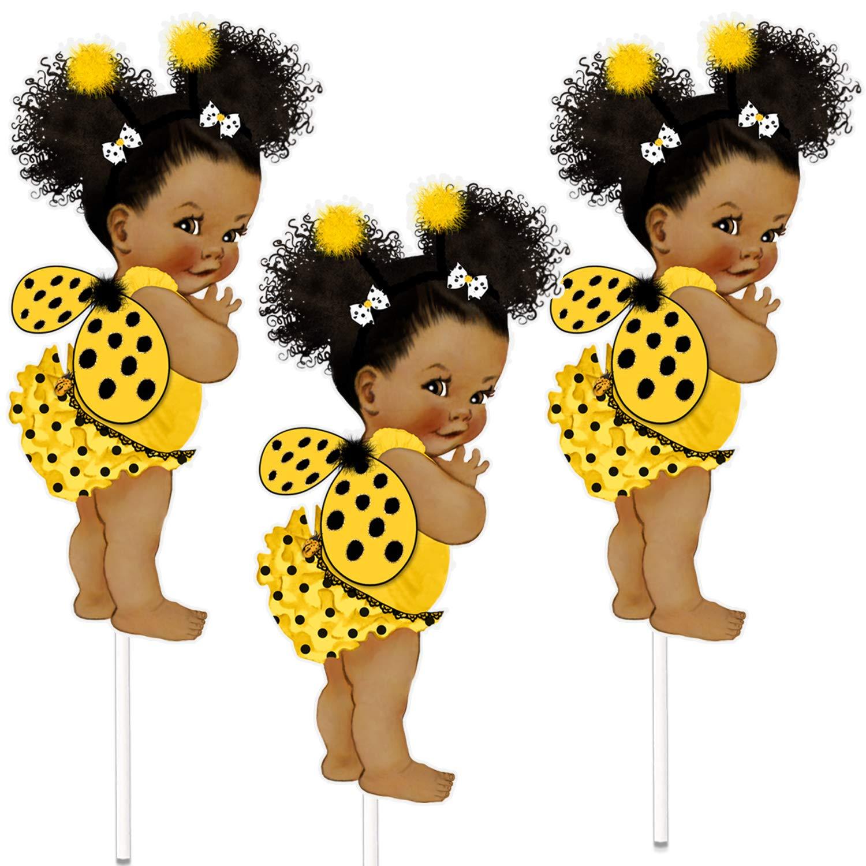 Ladybug Centerpiece, Ladybug Girl Table Decor Birthday Baby Shower, African  American Girl Ladybug White and Black Dress.