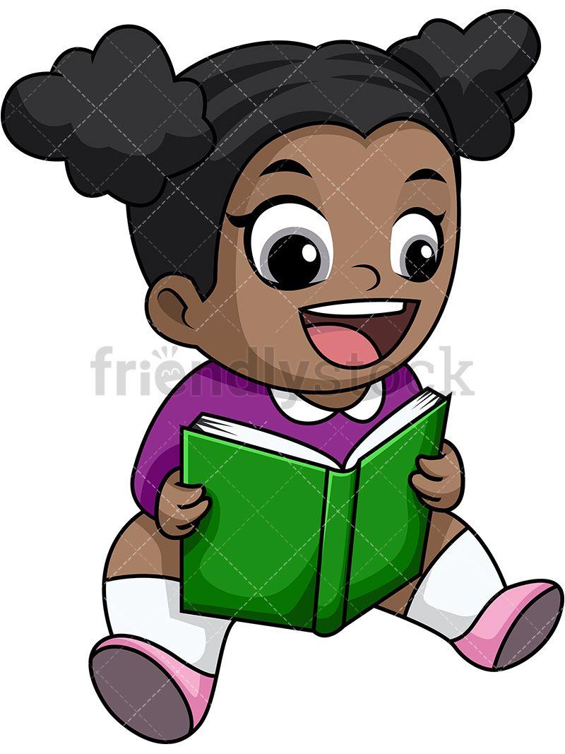 Happy Black Little Girl Reading Book.