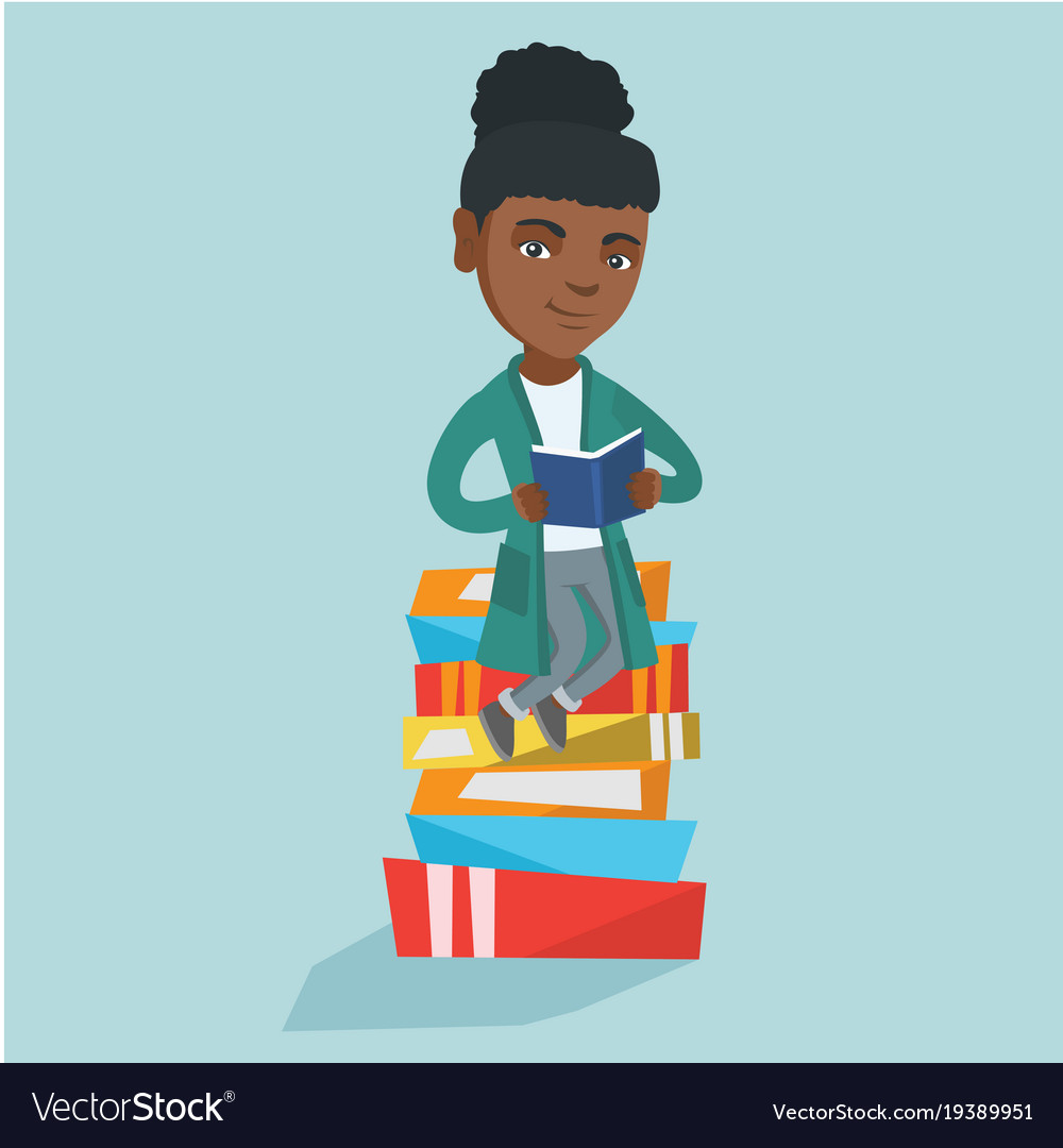 African student sitting on a huge pile of books.
