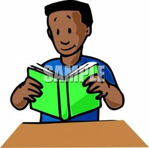 An African American Boy Reading A Book Royalty Free Clipart.