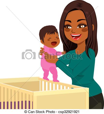 Vector Illustration of Young Mom Baby Crib.