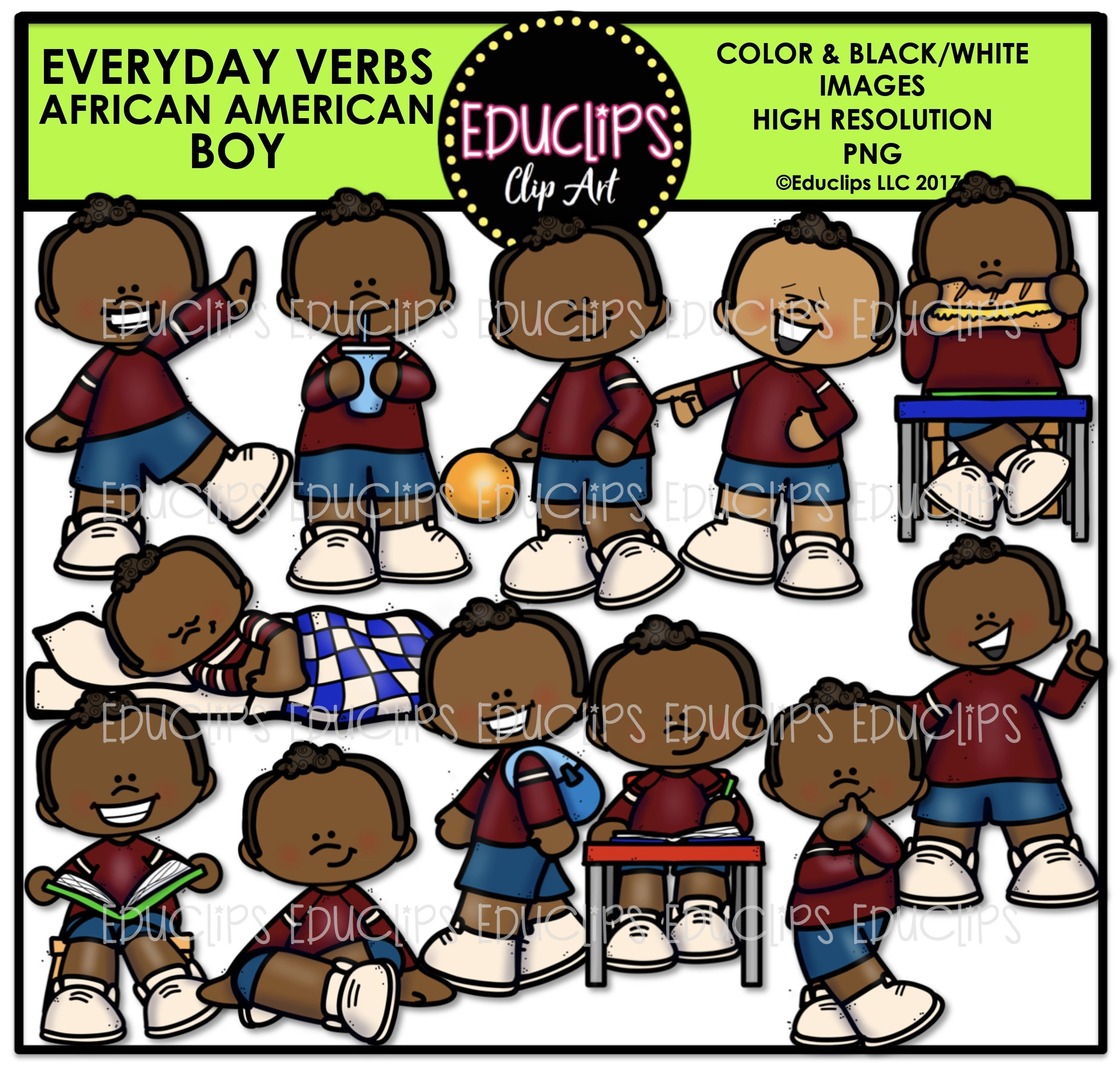 Everyday Verbs African American Boy Clip Art Bundle (Color and B&W).