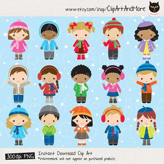 Winter Kid Clipart Winter Children Clipart African American.