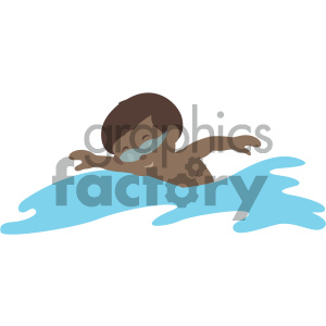 african american boy swimming vector illustration clipart. Royalty.