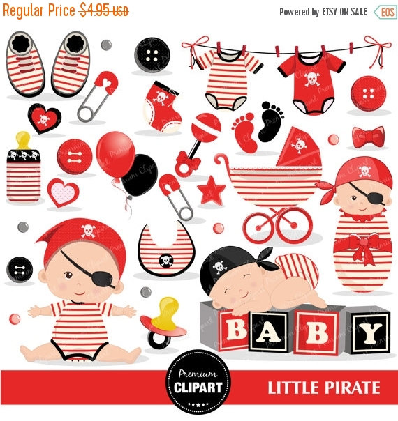 Baby clipart commercial use, pirate baby shower clipart, pirate.