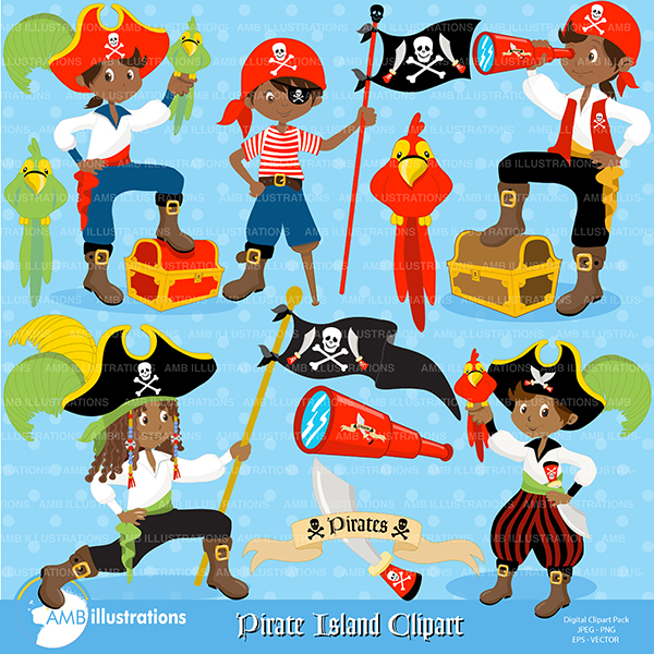 African american boy pirate clipart.