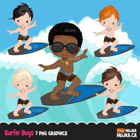 Surfer Boys clipart, surfing characters, black, card making.