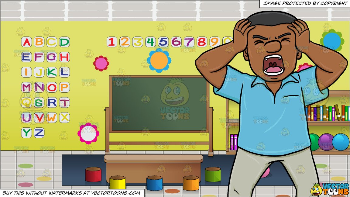 A Black Man Getting So Frustrated And Angry At Something and Inside A  Preschool Classroom Background.