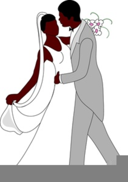 African American Bride And Groom Clipart.