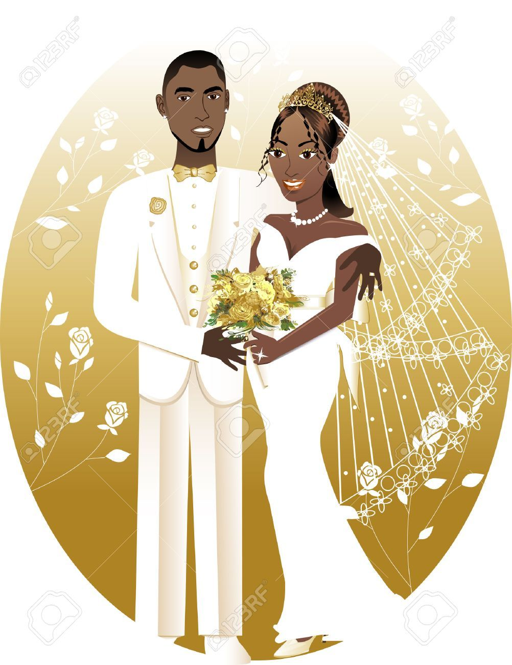 African american bride and groom clipart 6 » Clipart Portal.