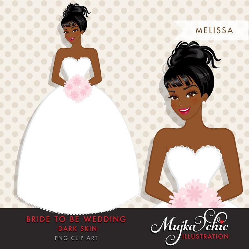 African American, dark skin Bride Clipart. Bride to be wedding clipart,  character illustration, wedding invitation clipart, bridal shower.
