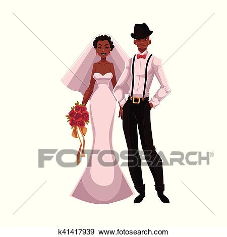 African American just married couple, black bride and groom Clip Art.